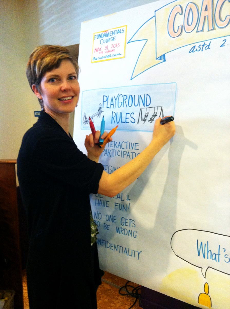 Katherine at the board: Graphic Facilitating at