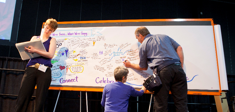L to R; Melanie, Laurie and Rob team graphic recording