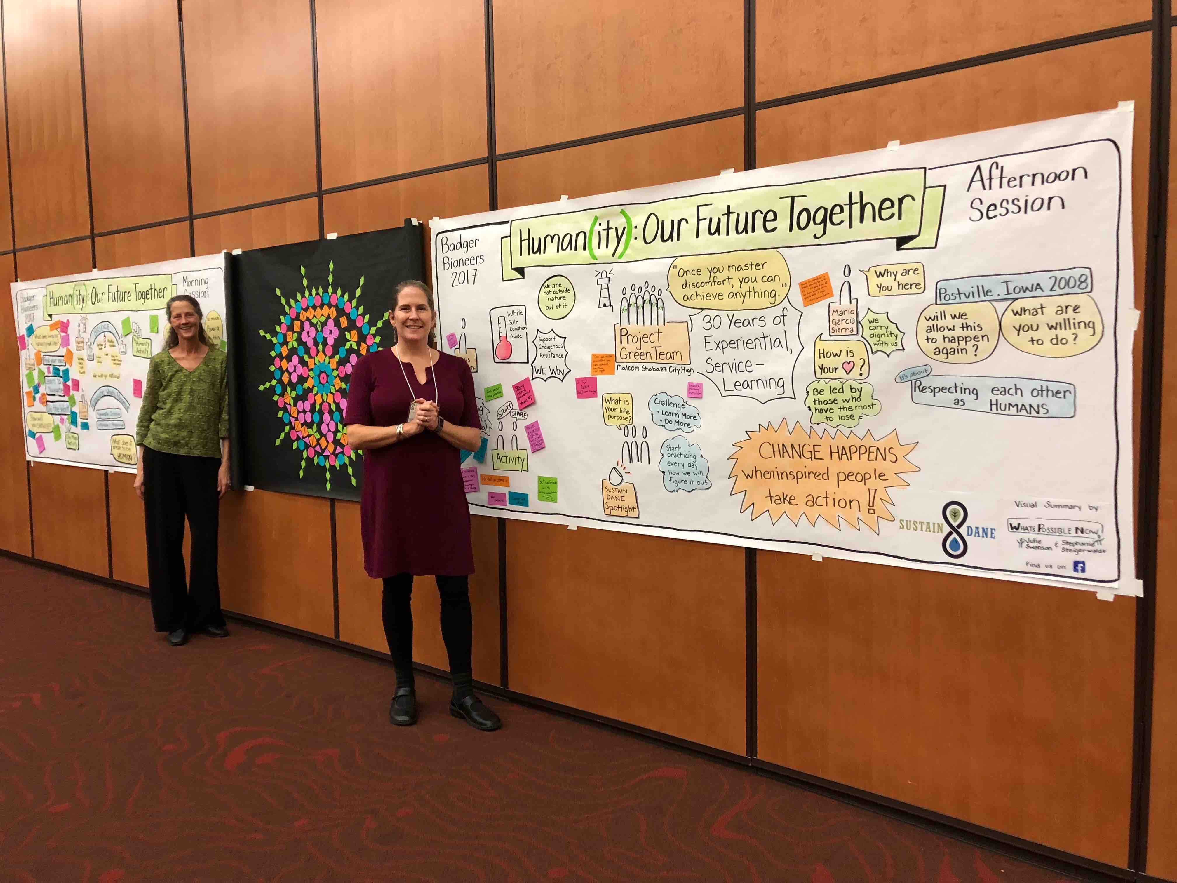 Graphic Recording/Engagement by Stephanie Steigerwaldt and Julie Swanson for Badger Bioneers 2017