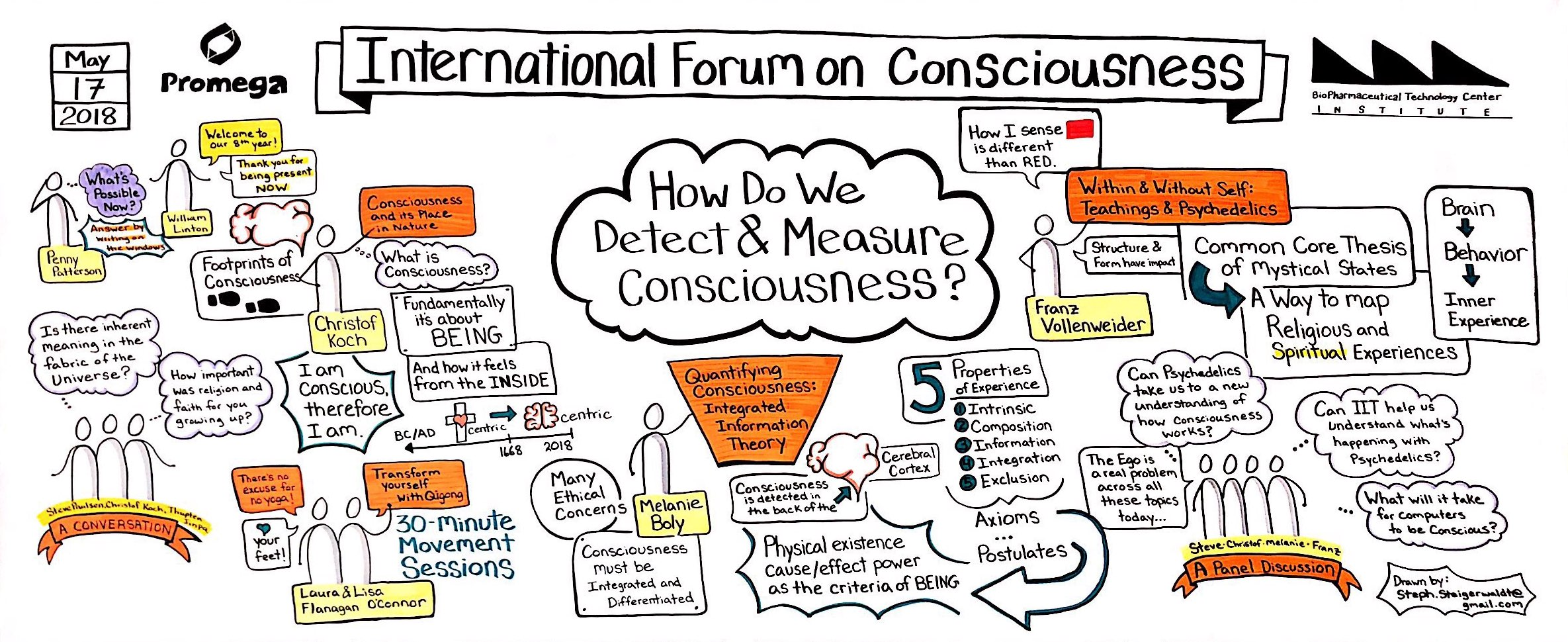 Graphic Recording for International Forum on Consciousness, Day One, 2018
