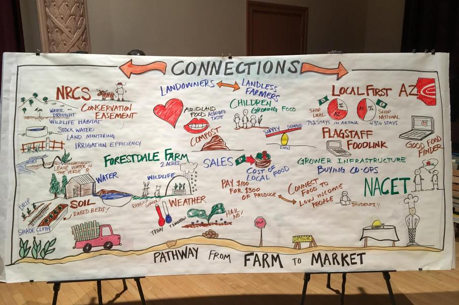 Graphic depiction of live Agriculture to Appetites brainstorming session in Flagstaff, Arizona - March 2017