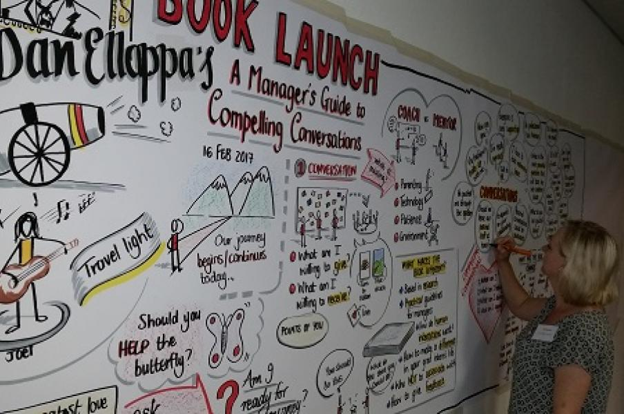 Graphic recording of a book launch