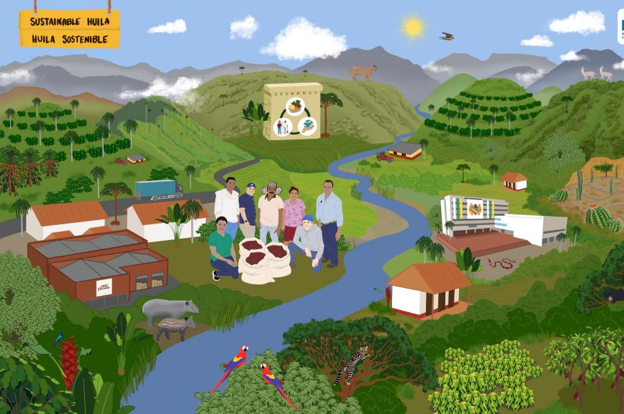 Illustrated landscape showing future view of the district of Huila in Colombia. Sustainable trade, biodiversity.