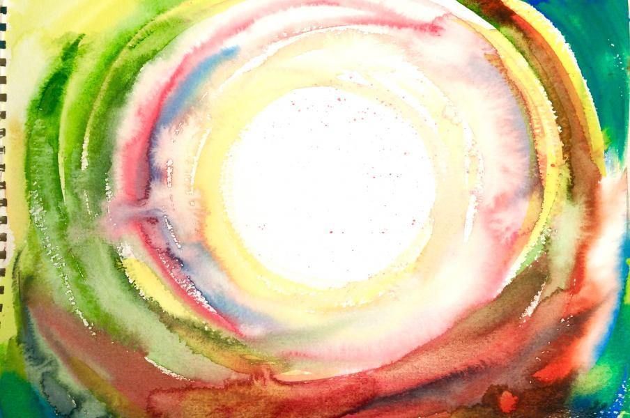 Using watercolour to paint out the energy of a process