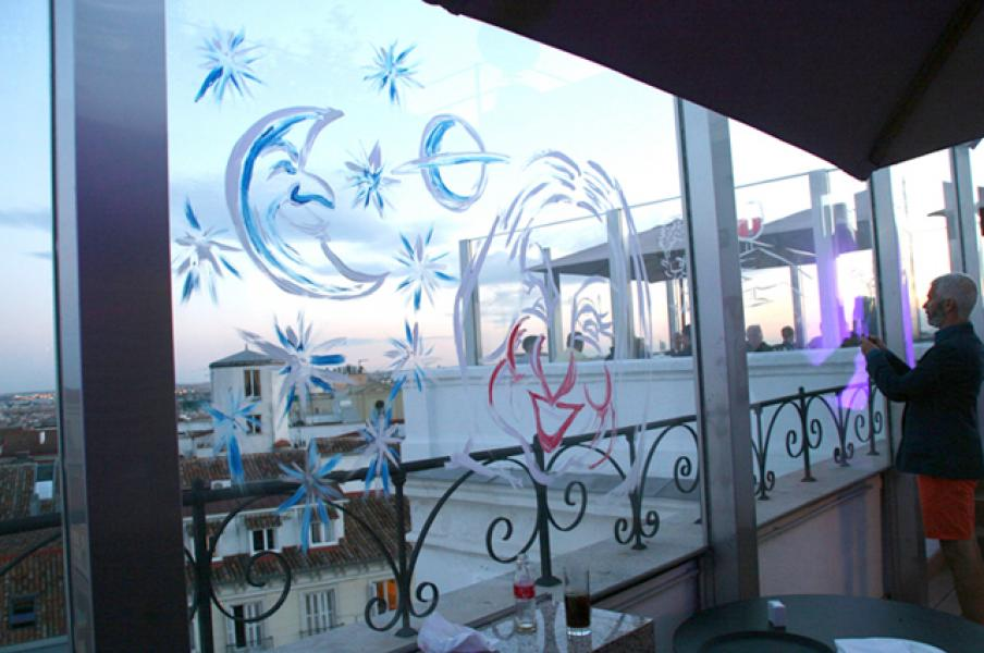 Mind mapping on glass at Lexus event in Madrid, June 2014