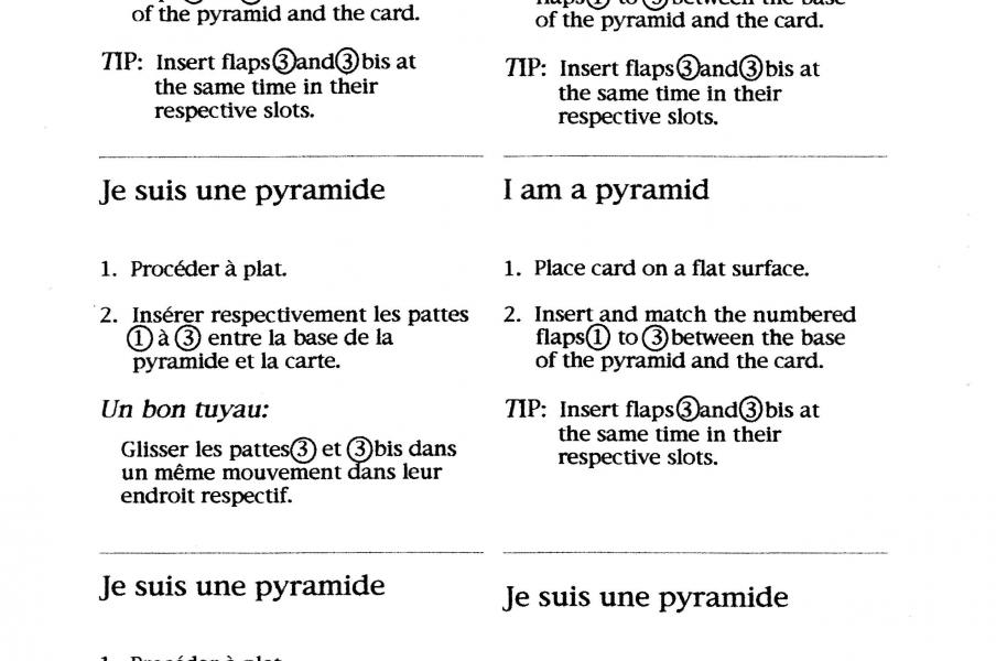 Instructions in English and French for putting the Pyramid greeting card together