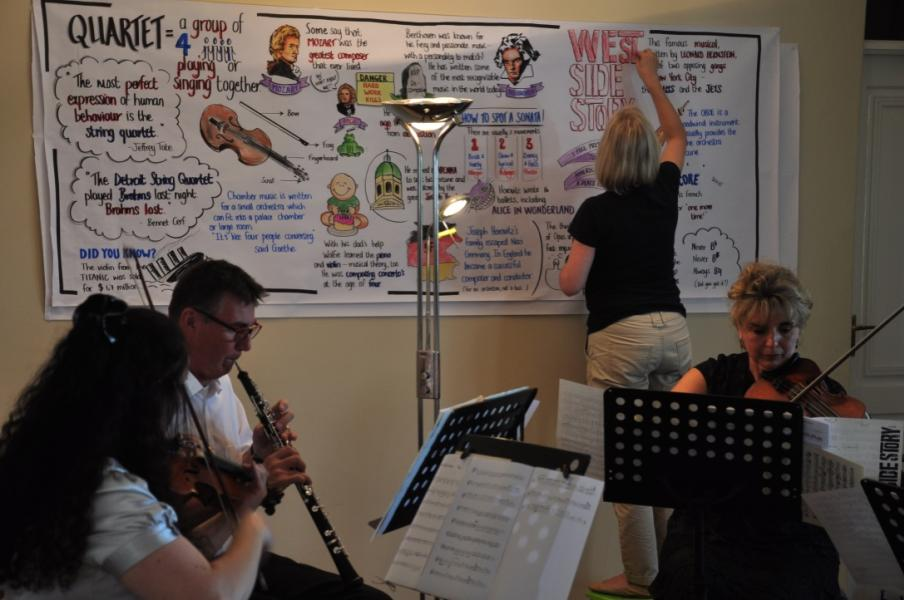 During a string quartet, I captured interesting information on the pieces they performed, as well as the composers.