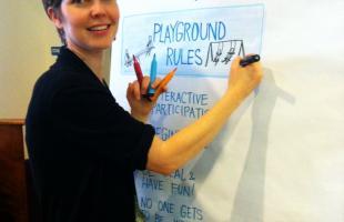 Katherine at the board: Graphic Facilitating at