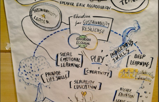 Graphic recording for the conference on Ecosocial education, organised by FUHEM in Madrid, 2017.